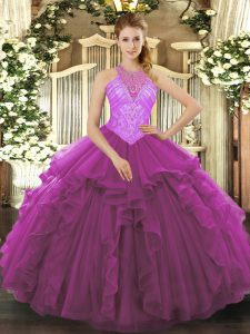Fuchsia Lace Up Sweet 16 Dresses Beading and Ruffles Sleeveless Floor Length