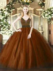 Beautiful Floor Length Zipper 15 Quinceanera Dress Brown for Military Ball and Sweet 16 and Quinceanera with Beading