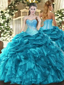Super Sleeveless Floor Length Beading and Ruffles and Pick Ups Lace Up Quinceanera Gown with Teal