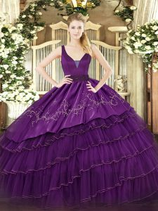 Sleeveless Embroidery and Ruffled Layers Zipper Quince Ball Gowns