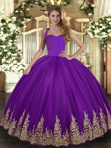 Purple Quince Ball Gowns Military Ball and Sweet 16 and Quinceanera with Appliques Halter Top Sleeveless Lace Up