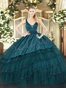 Eye-catching Floor Length Teal Ball Gown Prom Dress Straps Sleeveless Zipper