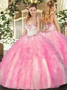 Tulle Sweetheart Sleeveless Lace Up Beading and Ruffles Ball Gown Prom Dress in Rose Pink