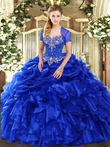 Royal Blue Sleeveless Beading and Ruffles and Pick Ups Floor Length Sweet 16 Quinceanera Dress