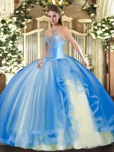High End Floor Length Ball Gowns Sleeveless Baby Blue Quinceanera Dress Lace Up