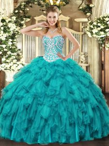 Customized Tulle Sleeveless Floor Length 15th Birthday Dress and Beading and Ruffles