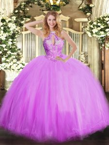 Fitting Lilac Vestidos de Quinceanera Military Ball and Sweet 16 and Quinceanera with Beading Halter Top Sleeveless Lace Up