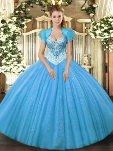 Most Popular Aqua Blue Sleeveless Beading Floor Length Quinceanera Dress