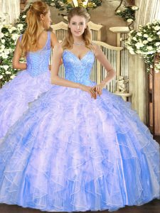 Nice Light Blue V-neck Lace Up Beading and Ruffles Sweet 16 Dress Sleeveless