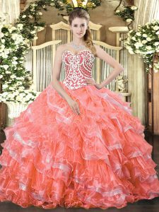 Floor Length Watermelon Red Vestidos de Quinceanera Sweetheart Sleeveless Lace Up