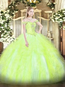 Yellow Green Tulle Lace Up Off The Shoulder Sleeveless Floor Length Quinceanera Dress Beading and Ruffles