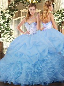 Sleeveless Lace Up Beading and Ruffles and Pick Ups Sweet 16 Dress