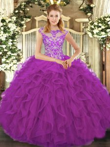 Shining Eggplant Purple Cap Sleeves Beading and Ruffles Floor Length Quinceanera Dresses