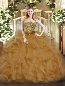 Ball Gowns 15 Quinceanera Dress Brown Strapless Organza Sleeveless Floor Length Lace Up