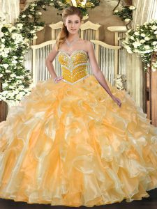 Top Selling Orange Sweetheart Neckline Beading and Ruffles Vestidos de Quinceanera Sleeveless Lace Up