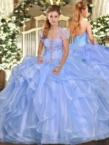 Decent Light Blue Ball Gowns Organza Strapless Sleeveless Appliques and Ruffles Floor Length Lace Up Quinceanera Dress