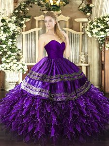 Sleeveless Zipper Floor Length Embroidery and Ruffles Ball Gown Prom Dress