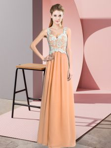 Hot Selling Peach V-neck Neckline Lace Homecoming Dress Sleeveless Zipper