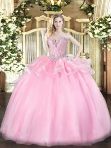 Superior Sleeveless Lace Up Floor Length Beading Sweet 16 Dresses