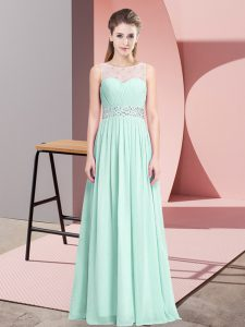 Chiffon Scoop Sleeveless Lace Up Beading Prom Gown in Apple Green