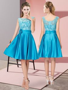 Lace and Hand Made Flower Prom Evening Gown Blue Zipper Sleeveless Knee Length