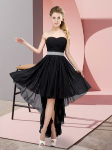 Sexy Black Lace Up Sweetheart Beading Prom Gown Chiffon Sleeveless