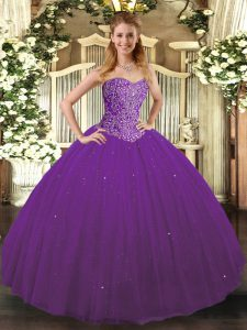 Purple Sleeveless Tulle Lace Up 15 Quinceanera Dress for Military Ball and Sweet 16 and Quinceanera