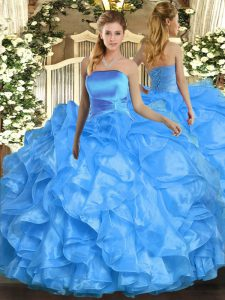 Ideal Sleeveless Organza Floor Length Lace Up Sweet 16 Quinceanera Dress in Baby Blue with Ruffles