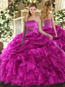 Eye-catching Fuchsia Organza Lace Up Quince Ball Gowns Sleeveless Floor Length Ruffles and Pick Ups
