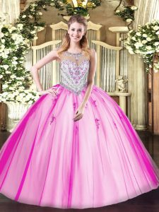Elegant Scoop Sleeveless Zipper 15th Birthday Dress Lilac Tulle