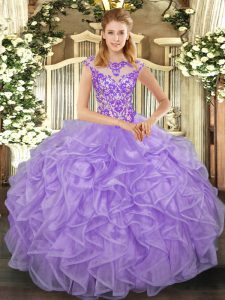 Lovely Lavender Lace Up Quinceanera Gown Beading and Appliques and Ruffles Cap Sleeves Floor Length
