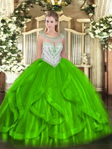 Glorious Sleeveless Floor Length Beading and Ruffles Zipper Sweet 16 Quinceanera Dress