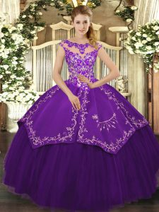 Popular Purple Lace Up Scoop Beading and Embroidery 15 Quinceanera Dress Satin and Tulle Cap Sleeves