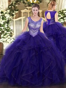 Glittering Purple Sleeveless Floor Length Beading and Ruffles Lace Up Quinceanera Gowns