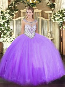 Modest Lavender Ball Gowns Tulle Scoop Sleeveless Beading Floor Length Zipper Quinceanera Dress