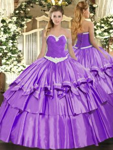 Lovely Lavender Ball Gowns Organza and Taffeta Sweetheart Sleeveless Appliques and Ruffled Layers Floor Length Lace Up Quinceanera Dress