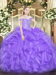 Off The Shoulder Sleeveless Quinceanera Gowns Floor Length Beading and Ruffles Lavender Organza