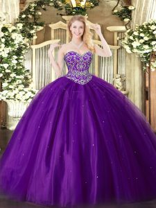 Fancy Sleeveless Beading Lace Up Quinceanera Gown