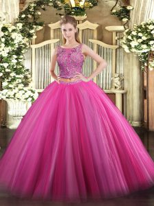 Sexy Floor Length Hot Pink Quince Ball Gowns Scoop Sleeveless Lace Up