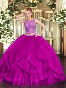 Colorful Fuchsia Organza Zipper Scoop Sleeveless Floor Length Ball Gown Prom Dress Beading and Ruffles