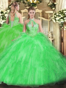 Simple Sleeveless Floor Length Beading and Ruffles Lace Up Vestidos de Quinceanera with