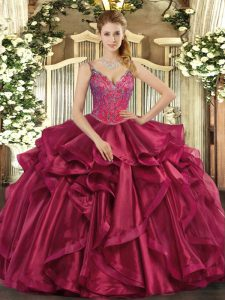 Elegant Wine Red Sleeveless Beading and Ruffles Floor Length 15th Birthday Dress