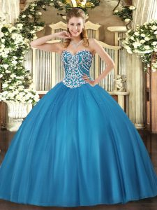 Floor Length Lace Up Ball Gown Prom Dress Baby Blue for Military Ball and Sweet 16 and Quinceanera with Beading