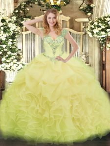 Fashion Yellow Sleeveless Beading and Ruffles and Pick Ups Floor Length Quinceanera Gowns