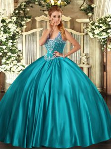 Sexy Beading Sweet 16 Dresses Teal Lace Up Sleeveless Floor Length