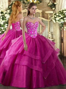 Popular Embroidery and Ruffled Layers Quinceanera Gown Fuchsia Lace Up Sleeveless Floor Length
