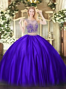 Purple Scoop Neckline Beading Quinceanera Dress Sleeveless Lace Up