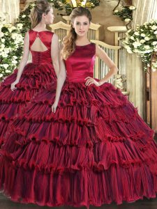 Beauteous Wine Red Sweet 16 Dresses Military Ball and Sweet 16 and Quinceanera with Ruffled Layers Scoop Sleeveless Lace Up