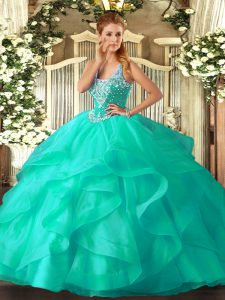 Exceptional Sleeveless Beading and Ruffles Lace Up Quinceanera Dresses
