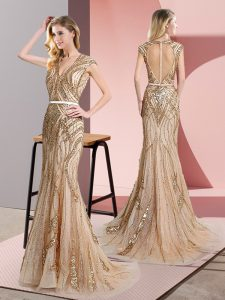 Vintage Floor Length Champagne Homecoming Dress V-neck Sleeveless Zipper